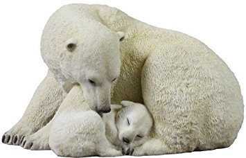 7.75 Inch Polar Bear Cub Cuddling with Mother Statue Figurine, White