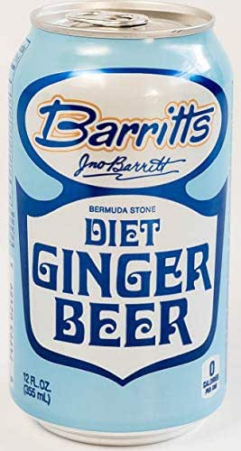 Barritt's Sugar Free Diet Ginger Beer, Non-Alcoholic Soda Cocktail Mixer, 12 fl oz Cans, 12 Pack