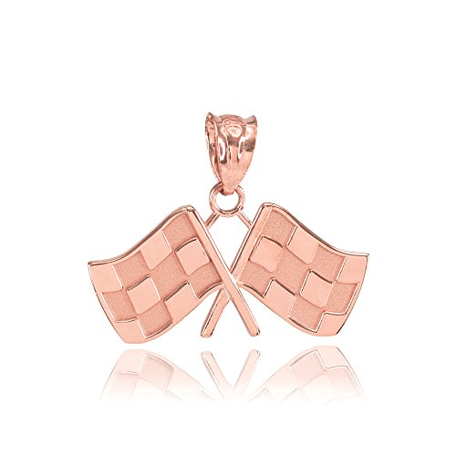 - 10k Rose Gold Racing Flags Charm Pendant