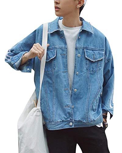 Denim Jeans Classiche Jacket Coat Cappotto Hellblau Patchwork Ragazzi Men Oversize Outwear Loose ppTrHq