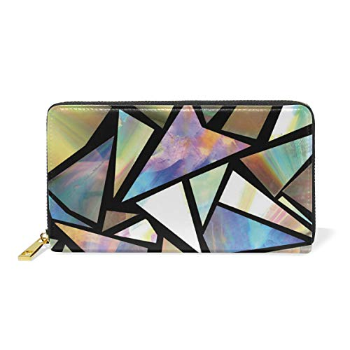 Genuine Leather Women's Zip Around Wallet Purse Clutch Iridescent Triangles Abstract Printed for Girl Card Holder Handbag