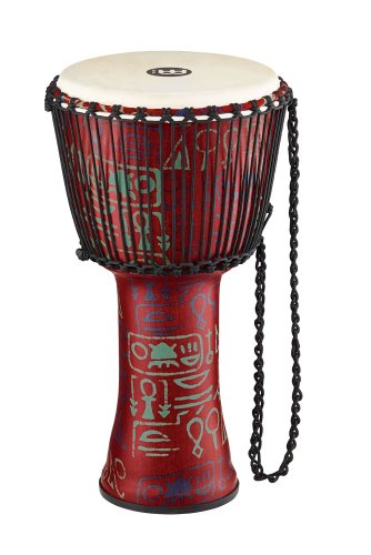 Meinl Percussion PADJ1-L-G Large Rope Tuned Travel Series Djembe with Synthetic Shell and Goat Skin Head, Pharaoh's Script by Meinl Percussion