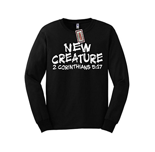 New Creature 2 Corinthians 5:17 Christian Long Sleeve Shirt Jesus Religious Black Tee Small S