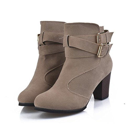 HOT Sale ,AIMTOPPY Women Belt Buckle Ladies Faux Boots Ankle Boots High Heels Martin Shoes (US:8.5, Beige) Black 8' Zip Boot