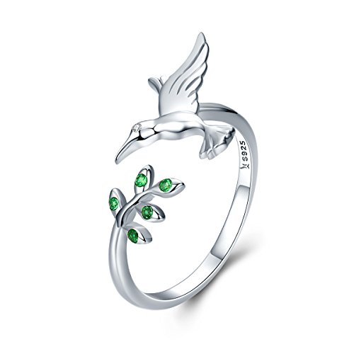 The Kiss Hummingbird & Spring Tree Leave 925 Sterling Silver Adjustable Ring, Green CZ