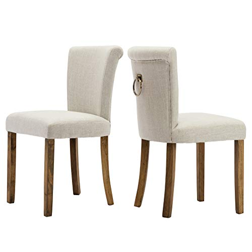 Bed Set Dining Room (Fabric Dining Room Upholstered Chairs, Set of 2, Armless with Curved Wood Legs and Ring Pull, Beige)