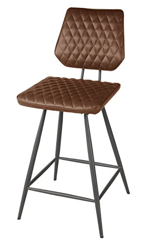 Mitchell Leather Furniture - New Pacific Direct Mitchell PU Leather Swivel Counter Stool,Gray Legs,Cigar Brown,Set of 2