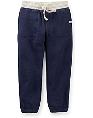 Baby Boys French Terry Active Pants (9M, Navy)