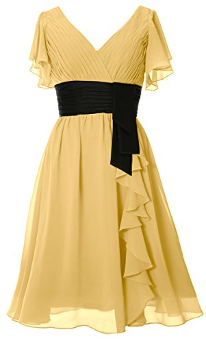 Neck Elegant Gown Canary V Sleeve Short Formal Cocktail Bride Mother MACloth of Dress apBq8nw
