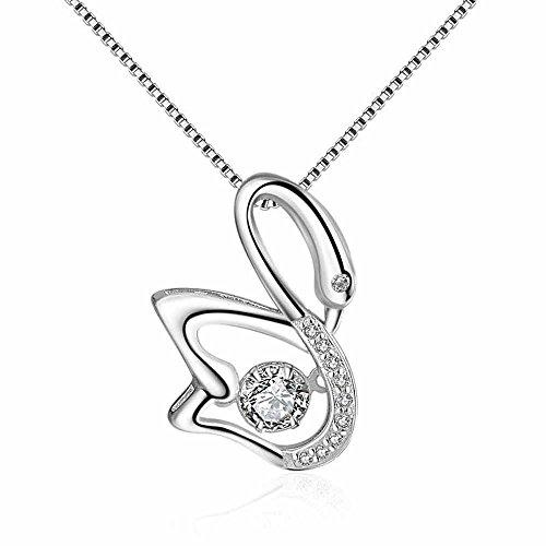 Fashion 925 Sterling Silver Swinging Hyun Dance Zircon Swan Pendant Necklace By Wat by wattana