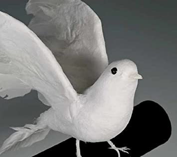 8 Artificial Flocked White Feather Dove-set of 4
