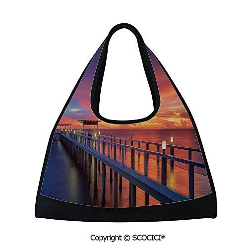 Badminton bag,Wooden Bridge in the Port at Sunrise Horizon Candle Light Romantic Decor Image Print Decorative,Easy to Carry(18.5x6.7x20 in) Orange Navy ()