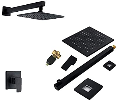 """Bathroom Shower Faucet System Luxury All Metal Mixed 8"""" High Pressure Showerhead Wall Mounted Rainfall Big Water Flowrate Shower Combo Set Black Finished Ceramic Valve Brass Single Handle Two Holes"""