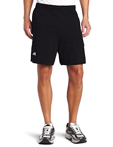 Russell Athletic Men's Cotton Baseline Short with Pockets, Black, Large (Russell Jersey Athletic Shorts)