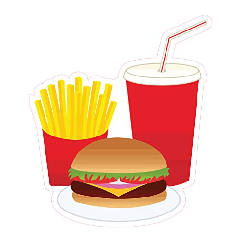 Die-Cut Sticker Multiple Sizes Burger Combo Restaurant & Food Meat Burger Indoor Decal Concession Sign Red - 48in Longest Side
