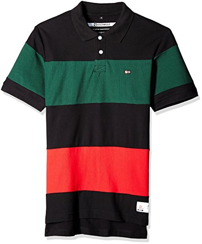 Southpole Men's Short Sleeve Stripe Polo Shirt, Black/Red, (Roll Sleeve Chest Stripe Shirts)