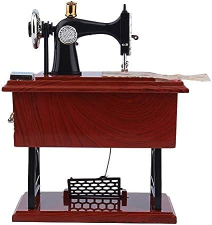 ClookYuan Mini Vintage Lockwork Máquina de Coser Caja de música Juguete para niños Pedal Sartorius Juguetes Regalo de cumpleaños Decoración para el hogar - Marrón