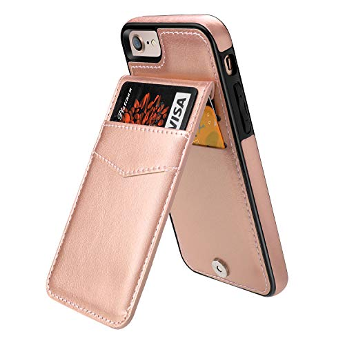 - iPhone 7 iPhone 8 Case Wallet with Credit Card Holder, KIHUWEY Premium Leather Magnetic Clasp Kickstand Heavy Duty Protective Cover for iPhone 7/8 4.7 Inch(Rose Gold)