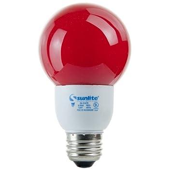 Sunlite SLG9/R SLG9/R 9-watt Colored Globe Energy Saving Medium Base CFL Light Bulb, Red