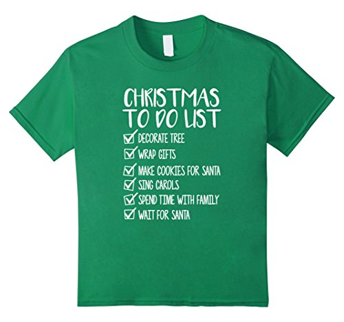 Naughty & Nice Teen Costumes (Kids Christmas List Shirt To do this Xmas Season Holiday TShirt 6 Kelly Green)