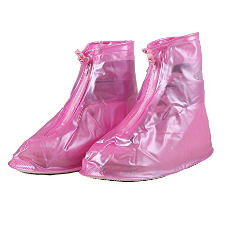 Women and Men Waterproof Shoes Cover Rain Snow Boots Covers Reusable Slip-resistant Rain Covers (M, pink)