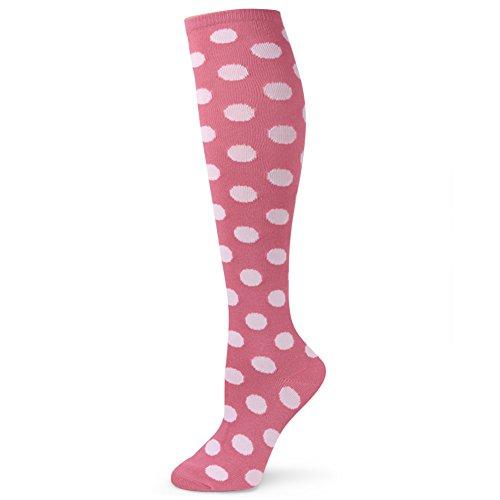Polka Dots White Cotton Socks - Spotlight Hosiery Elite Quality Colorful Soft Cotton Lady's/Women's Cute Kawaii Fun Polka Dots Knee High Socks-Pink/White