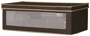 Household Essentials Vision Small Storage Box, Natural Canvas with Brown Trim 510