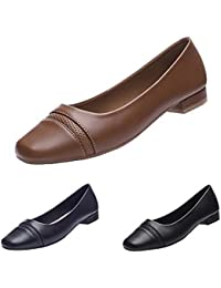 GUCHRNG Women's Comfort Low Heel Flat Shoes Office Shoes...