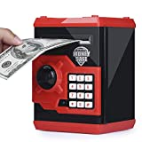 kingsida Electronic Password Piggy Bank Kids Safe Bank Mini ATM Electronic Money Save Box Cash Coin Can(Black and Red)