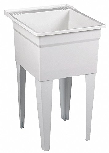 (Floor-Mount Laundry Tub, 1 Bowl, White, 24'L x 20'W x)