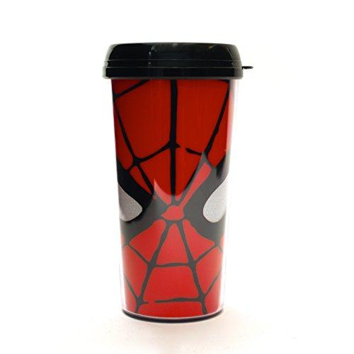 Silver Buffalo MC7087G Marvel Spider-Man Eyes Glitter Plastic Travel Mug, 16-Ounces
