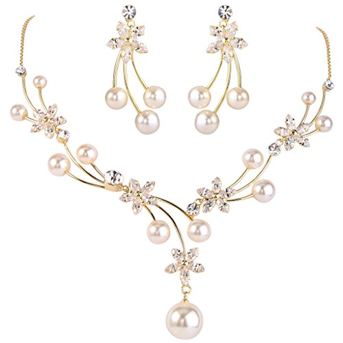 EleQueen Women's Gold-tone CZ Simulated Pearl Flower Filigree Bridal Necklace Earrings Set Ivory Color by EleQueen