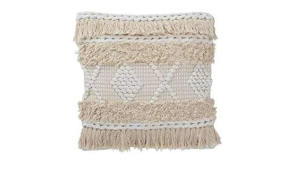 Cojín Cuadrado de macramé de algodón, Color Blanco: Amazon ...