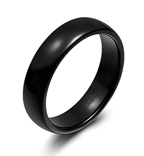 6mm Black Ceramic Rings for Men Women Comfort Fit Engagement Wedding Band (7)