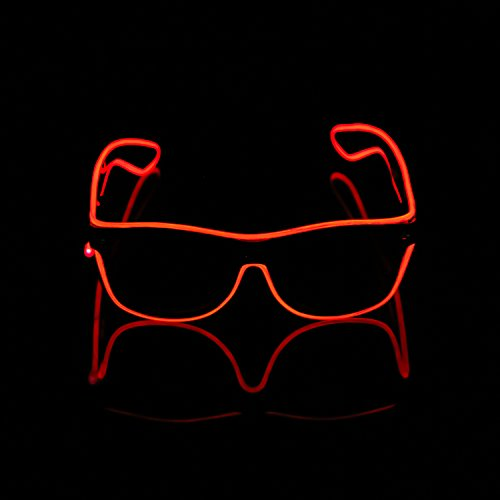 iChase LED Glasses ,EL Wire Fashion Neon Shutter Electroluminescent Flashing LED Sunglasses with Battery case Controller for Halloween Christmas Birthday Party Favor - Sunglasses Light Up That