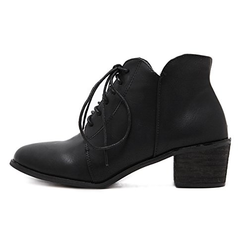 Zip Toe Up Bootie Women Black Boots Combat eshion Solid Ankle For Point Heels XEpxnIR