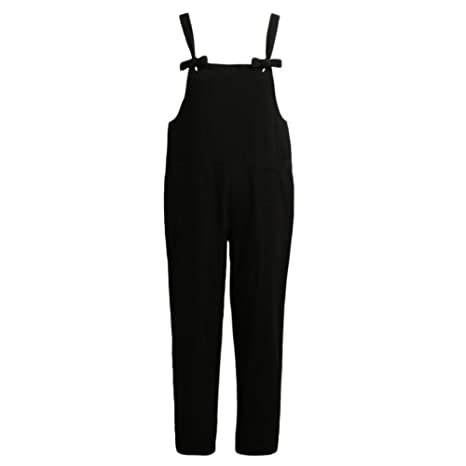 7d2061afb82 Amazon.com  Romacci Women s Strap Overall Pockets Bib Baggy Playsuit Pants  Casual Sleeveless Jumpsuit Trousers  Clothing