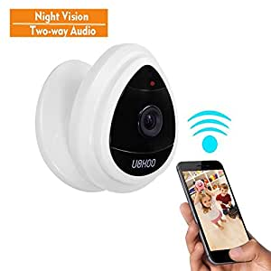 Mini IP Camera, UOKOO Home WiFi Wireless Security Surveillance Camera System with Night Vision/Two Way Audio White (new version)