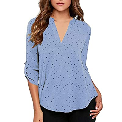 roswear Women's Casual Polka Dot Roll Tab Long Sleeve Blouse Top at Women's Clothing store