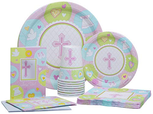 (Sweet Christening (Pink) Pack! Disposable Paper Plates, Napkins, Cups and Invite+Thank You Cards Set for 15 (With free)