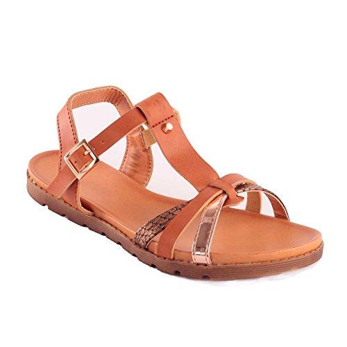 Primtex - Sandalias de vestir para mujer marrón claro