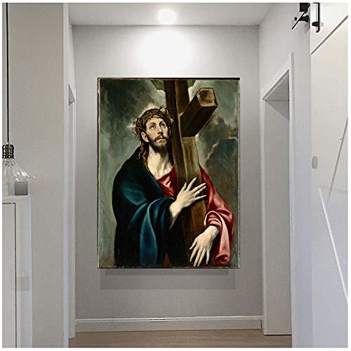 EL GRECO Famoso lienzo de pintura por el arte de la pared lienzo pintura Jesucristo cuadros decorativos sala de estar decoracion -50x70 cm sin marco