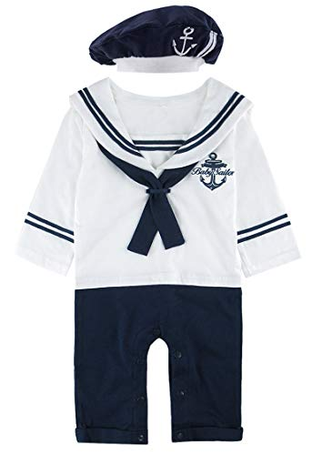 COSLAND Baby Boys' Sailor Romper Outfit Long Sleeve (White, 12-18 Months) ()
