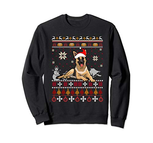 Shepherds Cute German (Cute German shepherd Ugly Christmas Holiday Dog Sweatshirt)