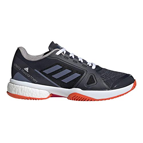 adidas Women's Asmc Barricade Boost 2017 Tennis Shoe, Blue/Super Purple/Radiant Orange, 7.5