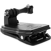 Revemx Montura giratoria portátil de 360 Grados para Sujetar el Clip del Sombrero de la Mochila para la cámara Gopro Hero Negro