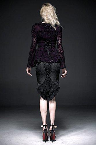 Chaqueta, color morado y negro de vampiresa Punk Rave gótico negro