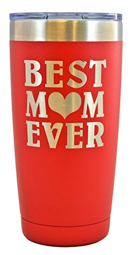 Mom Gift   Engraved Best Mom Ever Stainless Steel Polar Camel Tumbler 20 Oz Vacuum Insulated Large Travel Coffee Mug Hot   Cold Drinks Birthday Christmas Mothers Day Beach Pool Party  Red