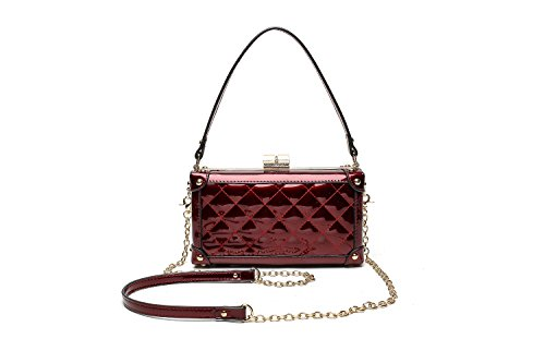 MKF Collection Lucinda Evening Designer Crossbody Minaudiere Bag by Mia K. Farrow (Red) (Bag Mia Chain)