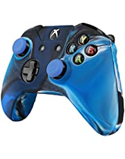 TNP Controller Case For Xbox One S / One X Soft Silicone Gel Rubber Grip Case Protective Cover Skin & 2 Matching Anti-Slip Thumb Stick Caps for Xbox One S / Xbox Wireless Gaming Gamepad (Mystic Blue)